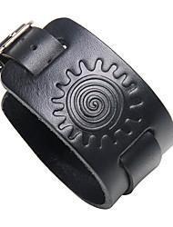 Недорогие -Муж. геометрический Кожаные браслеты - Кожа Камни, Steampunk Браслеты Бижутерия Черный / Коричневый Назначение Для улицы Для клуба