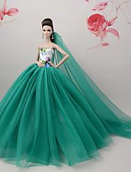 abordables -Vestidos Vestir por Muñeca Barbie  Arm Green Tul Tela de Encaje Mezcla de Seda y Algodón Vestido por Chica de muñeca de juguete