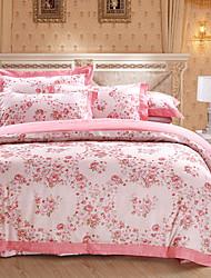 cheap -Duvet Cover Sets Floral Luxury 4 Piece 100% Cotton Cotton Jacquard Jacquard 100% Cotton Cotton Jacquard 1pc Duvet Cover 2pcs Shams 1pc