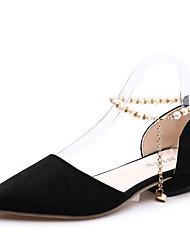 preiswerte -Damen Schuhe PU Frühling Sommer Pumps Komfort High Heels Blockabsatz Runde Zehe für Büro & Karriere Party & Festivität Kleid Schwarz Grau
