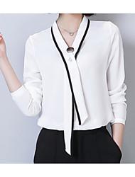 Недорогие -Жен. Праздники Пэчворк Блуза V-образный вырез Уличный стиль Однотонный Контрастных цветов Фонарь рукавом