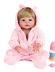 cheap -NPK DOLL Reborn Doll Baby Girl 22 inch Full Body Silicone / Silicone / Vinyl - lifelike, Hand Applied Eyelashes, Tipped and Sealed Nails Kid's Unisex Gift / Natural Skin Tone / Floppy Head