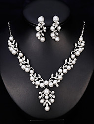 cheap -Women's Rhinestone / Imitation Pearl Jewelry Set 1 Necklace / Earrings - Formal / Fashion / Sweet , Silver Bridal Jewelry Sets For