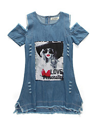 cheap -Girl's Daily Going out Solid Print Jacquard Dress, Cotton Acrylic Polyester Spring Summer Short Sleeves Simple Vintage Blue