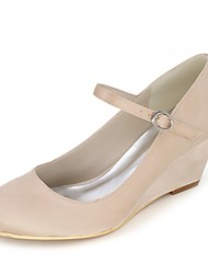 cheap -Women's Shoes Paillette / Satin Spring / Summer Basic Pump Wedding Shoes Wedge Heel Round Toe Blue / Champagne / Ivory