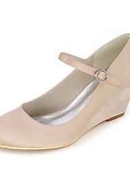 preiswerte -Damen Schuhe Paillette Satin Frühling Sommer Pumps Hochzeit Schuhe Keilabsatz Runde Zehe für Hochzeit Party & Festivität Purpur Rot Blau