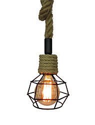 cheap -Vintage Hemp Rope Loft Pendant Lights Industrial Iron Cage Dining Room Hallway Cafe Bars Clothing Store Decoration Light