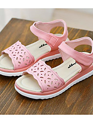 preiswerte -Mädchen Schuhe Leder Frühling Sommer Tiny Heels für Teens Komfort Sandalen für Normal Weiß Rosa