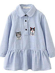 cheap -Girl's Going out School Solid Striped Jacquard Dress, Cotton Spring Summer Long Sleeves Cute Active Light Blue
