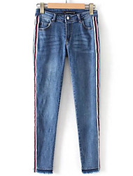 cheap -women's normal mid rise micro-elastic jeans pants, simple striped polyester spring
