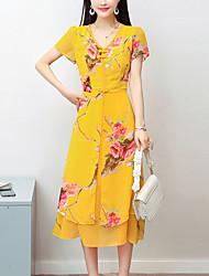abordables -Mujer Sofisticado Chic de Calle Vaina Gasa Vestido - Estampado, Floral Midi
