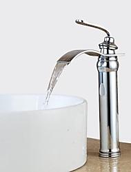 Недорогие -Ванная раковина кран - Водопад / Широко распространенный Хром По центру Одной ручкой одно отверстиеBath Taps / Латунь