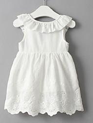 abordables -Robe Fille de Soirée Sortie Couleur Pleine Coton Polyester Eté Sans Manches Mignon Actif Blanc