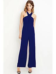 abordables -Femme Ample Quotidien Licou Bleu Noir Rouge Barboteuse, Couleur Pleine Basique L XL XXL Taille haute Sans Manches Printemps Eté