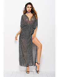 cheap -Women's Batwing Sleeve Loose Swing Dress - Solid Colored, Ruched Split High Waist V Neck Off Shoulder