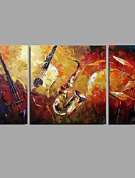 cheap -Oil Painting Hand Painted - Abstract Floral/Botanical Comtemporary Modern Canvas Three Panels