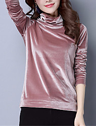 cheap -Women's Polo - Solid Colored Turtleneck