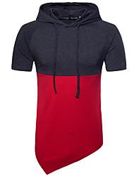 Недорогие -мужской ежедневный простой цветной блок с капюшоном с капюшоном, короткий рукав летнего хлопка спандекс