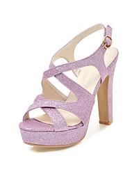 preiswerte -Damen Schuhe Paillette Frühling Sommer Pumps Sandalen Stöckelabsatz Offene Spitze Schnalle für Hochzeit Party & Festivität Gold Silber