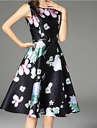 cheap -Women's Sophisticated Puff Sleeve Slim A Line Dress - Floral Print High Waist