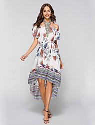 preiswerte -Damen Festtage Street Schick Boho Baumwolle Schlank Hülle Kleid - Druck, Blumen Asymmetrisch Bateau Weiß
