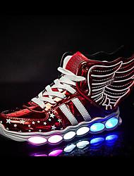 billige -Pige Sko Syntetisk Mikrofiber PU Forår Efterår Lysende Sko Komfort Sneakers LED Magisk tape for Afslappet udendørs Guld Sort Rød