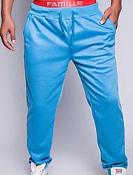 economico -pantaloni chino micro elasticizzati da uomo di media altezza, semplice molla in poliestere