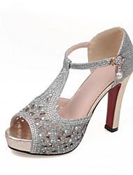 preiswerte -Damen Schuhe Glanz Frühling / Herbst Komfort Sandalen Stöckelabsatz Peep Toe Gold / Schwarz / Silber / Party & Festivität