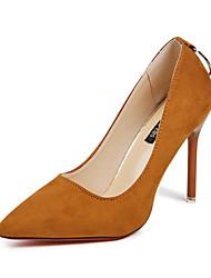 preiswerte -Damen Schuhe Vlies Frühling Herbst Pumps High Heels Stöckelabsatz Spitze Zehe Strass für Normal Party & Festivität Schwarz Hellbraun