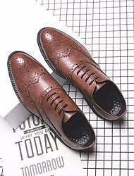 Недорогие -Муж. обувь Искусственное волокно Весна Осень Удобная обувь Туфли на шнуровке для Повседневные Черный Серый Коричневый