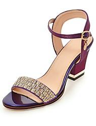 preiswerte -Damen Schuhe Seide Sommer Knöchelriemen Sandalen Blockabsatz Offene Spitze Kristall für Party & Festivität Schwarz Beige Purpur Rot