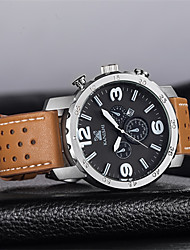 cheap -Men's Fashion Watch Chinese Calendar / date / day / Casual Watch / Large Dial Genuine Leather Band Luxury / Fashion Black / Brown