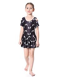 cheap -Girls' Boho Floral Swimwear, Polyester Nylon Spandex Short Sleeve Black Yellow