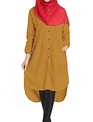 Dame Gade Skjorte Kjole - Ensfarvet, Krøllede Folder Asymmetrisk
