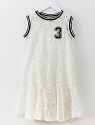 cheap -Girl's Daily Solid Colored Dress, Nylon Summer Sleeveless Simple White