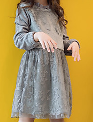 cheap -Girl's Daily School Solid Dress, Rabbit Fur Spring Long Sleeves Cute Gray