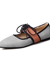 abordables -Femme Chaussures Cuir Nubuck Printemps / Automne Nouveauté Ballerines Talon Plat Bout pointu Noir / Gris / Rose