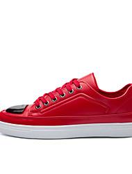 billige -Herre Sko PU Forår Efterår Komfort Sneakers for Afslappet Hvid Sort Rød