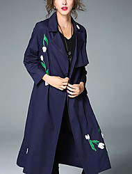 baratos -Mulheres Casaco Longo Vintage - Sólido