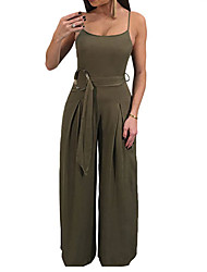 cheap -Women's Club Loose Jumpsuit - Solid Colored, Backless Basic Strap Off Shoulder