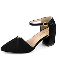 cheap -Women's Shoes PU Spring Fall Comfort Heels Stiletto Heel Pointed Toe for Dress Black Almond