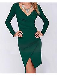 Недорогие -Жен. Тонкие Брюки - Однотонный С разрезами Завышенная Зеленый / На выход / Сексуальные платья
