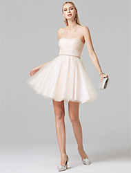 cheap -A-Line Princess Strapless Short / Mini Tulle Cocktail Party Dress with Beading Criss Cross by TS Couture®