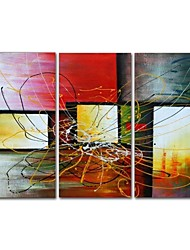 cheap -STYLEDECOR Modern Hand Painted Three Pieces of Abstract Line Oil Painting on Canvas Wall Art