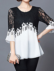 cheap -Women's Holiday Street chic Plus Size Loose Blouse - Color Block Black & White, Lace