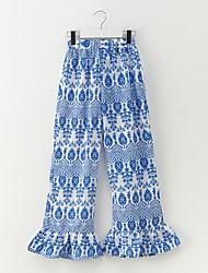 abordables -Pantalones Chica Floral Poliéster Primavera Azul Piscina