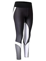 baratos -Mulheres Calças de Corrida - Branco, Preto Esportes Estampado, Outro Meia-calça / Leggings Exercício e Atividade Física Roupas Esportivas Respirabilidade Com Stretch