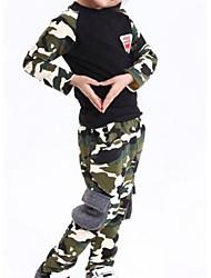 Недорогие -Универсальные Повседневные Однотонный Набор одежды, Полиэстер Весна Длинный рукав Очаровательный Военно-зеленный