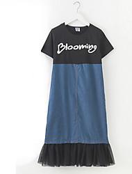 povoljno -Djevojka je Pamuk Kolaž Dnevno Praznik Proljeće Ljeto Kratkih rukava Haljina Jednostavan Aktivan Plava