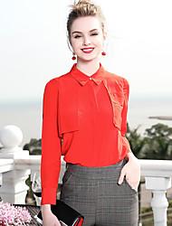 baratos -Mulheres Camisa Social - Trabalho Básico, Sólido Colarinho de Camisa Colarinho Chinês Delgado